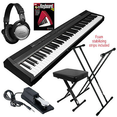 Yamaha P-105B 88-Key Digital Piano - Black KEY ESSENTIALS BUNDLE on Rummage