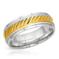 NEW BAND RING BEAUTIFULLY CRAFTED IN GOLD PLATED STAINLESS STEEL
