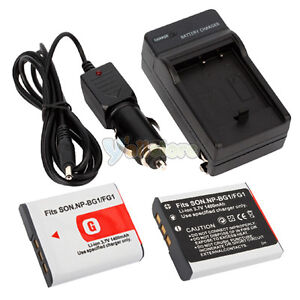 2x NP-BG1 NP-FG1 Battery+Charger for Sony NPBG1 Type G CyberShot DSC-W200 W210