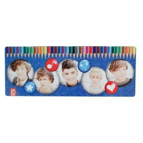 One Direction 50 Piece Colouring Pencils Tin Case Stationery Brand New Gift