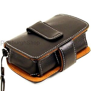 NEW Olympus Premium Black Leather Slim Digital Camera Case Belt Clip Stylus FE