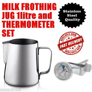 ESPRESSO COFFEE SET Stainless Steel Jug 1 Litre & Milk Frothing Thermometer NEW