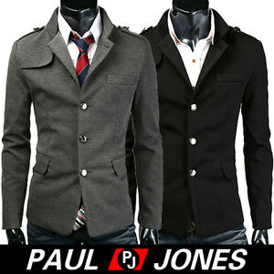 PJ-Hot-Mens-Premium-Short-Single-Pea-Coat-Trendy-Jacket-US-SZ-XS-L-Black-Grey