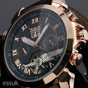 D Herrenuhr Automatik Leder Armband Uhr NEU! / WM183