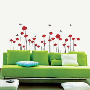 Removable Art Wall Vinyl DECAL Decorative PRINT STICKER FLOWERS Red Poppies