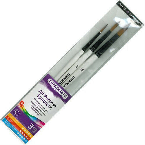 Daler Graduate Brush Set 4, 6, 10 - Ideal for Watercolour Acrylics Oils Gouache