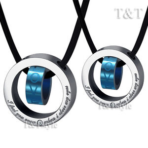 T&T Blue Stainless Steel Love Pendant Necklace For Couple