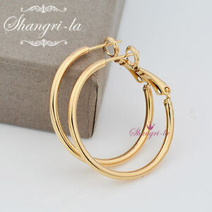 9K 9CT GOLD Filled Medium Plain ROUND HOOP EARRINGS SOLID EX434 LADIES