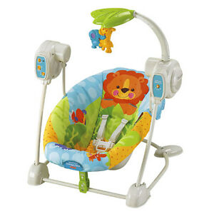 FISHER PRICE PRECIOUS PLANET BLUE SKY SPACE SAVER BABY SWING & SEAT V7464