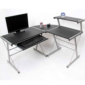 Modern L Shape Corner Desk Office Computer Desk L Shaped Table Black Workstation
