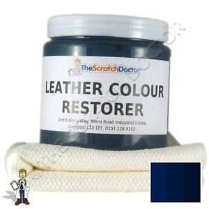 DARK BLUE Leather Dye Colour Restorer For Faded And Worn Leather Sofa Etc