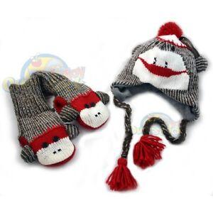 New-SOCK-MONKEY-Hat-Cap-W-Mittens-Set-Knit-Fleece-Youth-Adult-FREE-SHIPPING