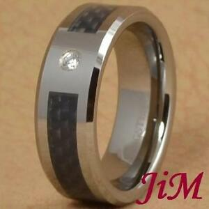 mens ring diamond wedding band black carbon fiber inlay hot size 6 14