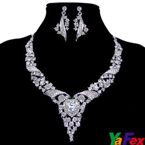 NEW Earring Necklace Jewelry Set Wedding Party Ball Swarovski Crystal hot