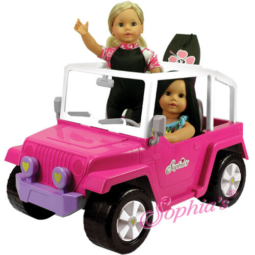Beach Cruiser Jeep 4x4 For 2 American Girl Doll & Other 18 Dolls Car Vehicle