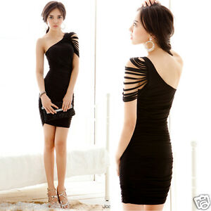 Womens-Asymmetric-One-Shoulder-Fringe-Stylish-Ruched-Cocktail-Party-Mini-Dresses