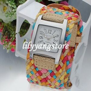 Multicolor-Ladys-Braided-band-Strap-Quartz-Wrist-watch-Fashion-Unisex-Gift