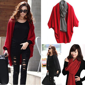 HOT-Women-Batwing-Cardigan-Shawl-Knit-Coat-Jacket-Sweater-Woolen-Knitwear-scarf