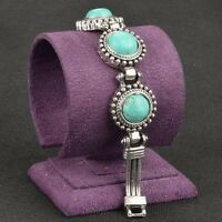 Rare Genuine Turquoise Link Silver Tibet Silver Round Bracelet