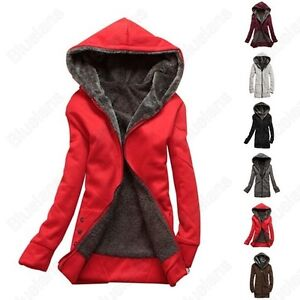 New-Womens-Winter-Jacket-Coat-Hoodie-Pullover-Fleece-Jacket-Short-Overcoat