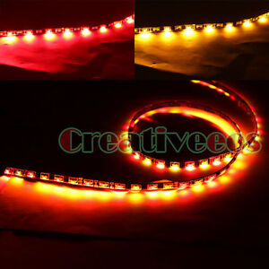 2x-60CM-24-60LED-Side-emitting-SMD-LED-Strip-Light-Turn-Signal-Light-Yellow-Red
