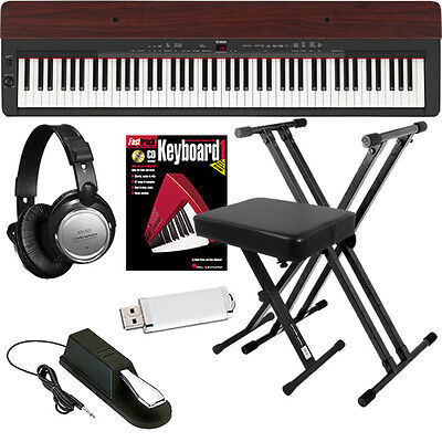 Yamaha P155 88-Key Digital Piano Black/Mahogany KEY ESSENTIALS Bundle  on Rummage