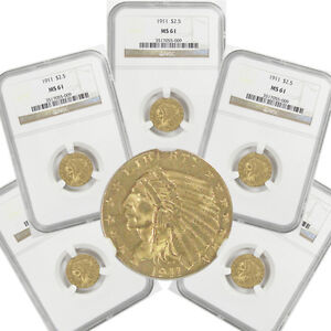 $2.5 Indian Head Gold Quarter Eagle NGC MS61 Coin 2 1/2 Dollar *