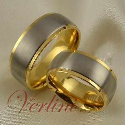 8MM Titanium Rings Set Her & His 14k Gold Wedding Bands Bridal Jewelry Size 6-13