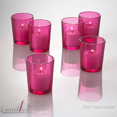 Pink Glass Votive Candle Holders Set of ...