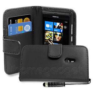 FLIP WALLET PU LEATHER CASE COVER FITS NOKIA LUMIA 800 FREE SCREEN PROTECTOR