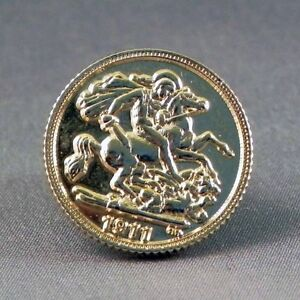 Gold sovereign collectable pin badge. British coin. Nice item