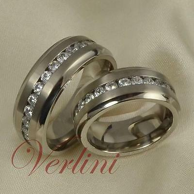 8MM Titanium Wedding Rings Set His & Her Stunning Bands
