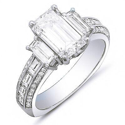 New 2.48 Ct Emerald Cut Baguette & Round Diamond Ring 14K White Gold I,VVS1 GIA