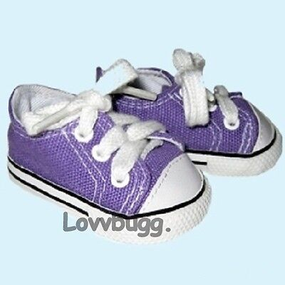 "Lovvbugg Purple Sneakers for 18"" American Girl or Boy or Bitty Baby Doll Shoes Clothes"