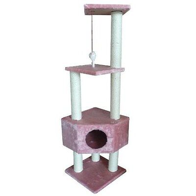 "BestPet Pink 52"" CAT TREE CONDO FURNITURE SCRATCHPOST PET HOUSE 67P"