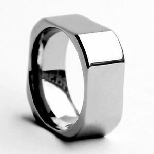mens square tungsten ring wedding band size 4 18