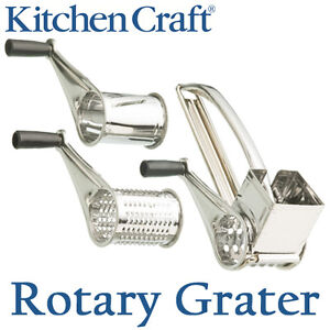 Kitchen Craft Rotary Grater Cheese Slicer Shreds Stainless Steel Drum Hand Held