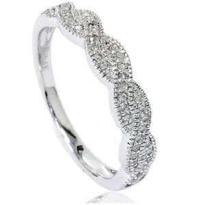 1-4CT-Pave-Diamond-Infinity-Vintage-Wedding-Ring-Band-14K-White-Gold-Size-4-9