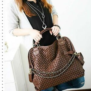 New-Women-Lady-Hobo-PU-leather-handbag-shoulder-bag-Large-Capacity-Brown-LN