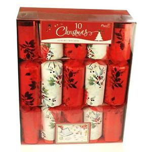 Deluxe Holly Christmas Xmas Table Tree Crackers 10 Pack Pulling