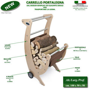 Carrello portalegna in legno camino caminetto stufa porta - Porta legna per camino ...