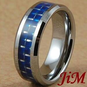 Tungsten Rings Blue Carbon Fiber Wedding Band Mens Womens Jewelry Size 6 15