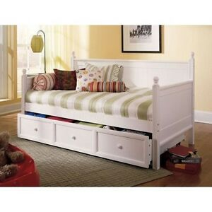 casey twin size daybed with trundle storage drawer in white finish ebay. Black Bedroom Furniture Sets. Home Design Ideas