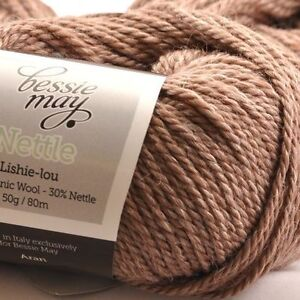 Nettle-Organic-Aran-Hand-Knit-Wool-Bessie-May-NETTLE-in-Brown-of-Bark