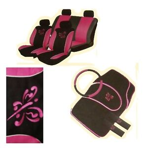 PINK&BLACK BUTTERFLY 13PC  CAR SEAT COVERS & MATS S/WHEEL SET UNIVERSAL