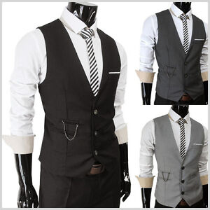 SVE-Mens-casual-slim-sit-chain-point-3-button-vest