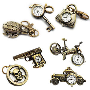 Bronze-Color-Various-Clock-Quartz-Pocket-Pendant-Watch-Necklace-Sweater-Chain