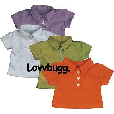 "Lovvbugg White Polo T Shirt Top 3 Btn for 18"" American Girl Doll Boy Baby Clothes Uniform"