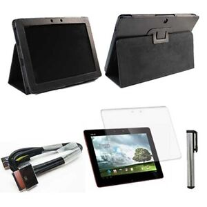 f Asus Eee Pad Transformer TF300 TF300T Leather Case Cover+Film+Stylus+USB Cable