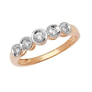 9ct-Yellow-Gold-25pt-Diamond-Graduated-5-Stone-IIllusion-Set-Eternity-Ring-RD503